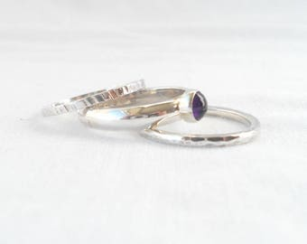 Size Q - Stacking rings with Amethyst stone - set of 3 sterling silver rings with 5mm amethyst cabochon