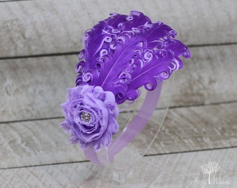 Purple and Lavender Feather Headband - Purple Feather Headband - Lavender Headband- Baby Headband - Adult Headband - Feather Headband