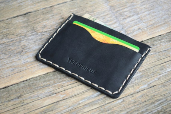 Black Leather Wallet. PERSONALIZED Hand Sewn Stitching. Credit Card Cash and ID Holder. Simple Unisex Pouch.