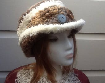 White & brown crocheted hat, with buttons