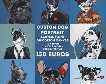 Benutzerdefinierte Hund Portrait / 30 x 30 cm