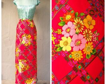 60s maxi skirt / Alex Colman / floral maxi skirt / bold neon floral skirt / hippie boho mod, designer skirt / 29 waist, small xs