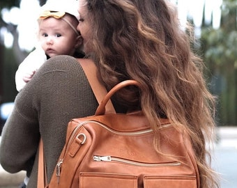 Store Sale EllaDane Multifunctional Vegan/Faux Leather Backpack  Diaper Bag- With Stroller Straps and Insulated Bottle Holder