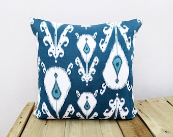 Ikat print, indigo pillow cover, cotton cushion cover, size available.