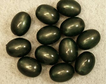 Vintage MOONGLOW Beads JADE Green Oval 12mm pkg8 res446