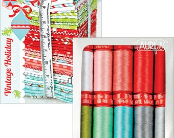 Free Shipping! Aurifil VINTAGE HOLIDAY Thread Collection 10 Small Spools of 100% cotton 50wt thread