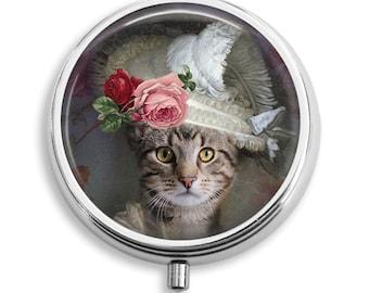 Pill Case Well Dress Cat Wears Fancy Hat Pill Box Case Trinket Box Vitamin Holder Medicine Box Mint Tin Gifts For Her