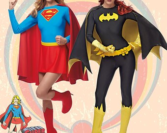 UNCUT Super Girl and Bat Girl Costume, Sewing Pattern Simplicity 0223 or 1036 Size 6-8-10-12-14-16-18-20-22 Leotard, Cape, Boot Covers