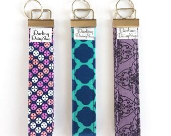 Keychain Wristlet. Key Fob Wrist. Key Fob Holder. Fabric Keychain. Fabric Key Fob.  - turquoise, navy, prurple and pink