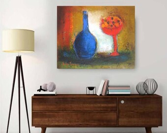 """cobalt blue red yellow abstract oil canvas,still life with wine bottle,horizontal art kitchen dining,Oil on canvas 16""""x20"""" modern still life"""