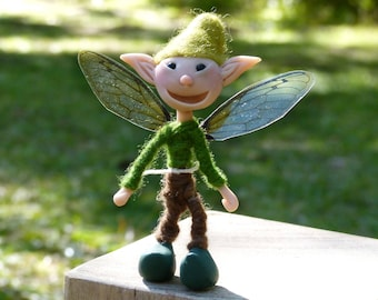 Miniature fairy doll,  Poseable fairy doll, Polymer Clay Boy Doll with Wings