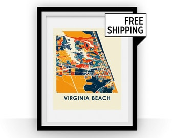 Virginia Beach Map Print - Full Color Map Poster