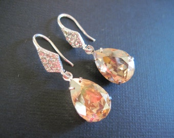 Golden Shadow Champagne Swarovski Crystal Drop Earrings/ Bridal Jewelry/ Bridesmaid Jewelry/ Crystal Earrings/ Bridesmaid Earrings/ Wedding