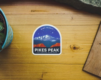 Pikes Peak At Night - Vinyl Sticker