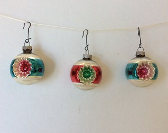 3 Vintage Shiny Brite Christmas Tree Ball Ornaments - Indented on Both Sides With Accent Stripes - Teal Blue & Red