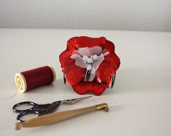 Handmade red flowered hair accessory/Present