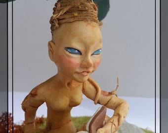 Mandrágora, Mandrágora del conocimiento, Mandrágora adulta, Escultura de mandrágora, ooak.