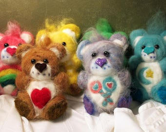 Six Needle Felted Care Bears