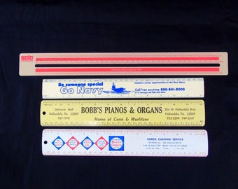 Vintage Advertising Rulers Go Navy Bobs Pianos and Organs Check Cashing Solo Word Processing