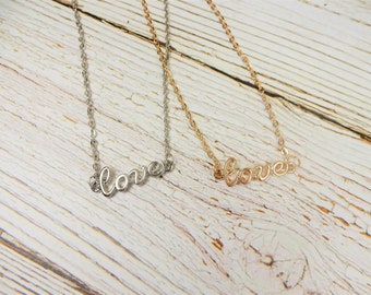 Love Necklace, Word Necklace, Love Jewellery, Love Pendant, Gift for Girfriend, Love Monogram Necklace, Valentine Jewellery