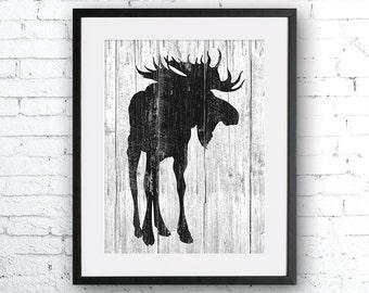Moose 2 art illustration, Moose painting,Nautical,Wall art,Rustic Wood art,Animal print,Home Decor,Animal silhouette,Kitchen decor,art print