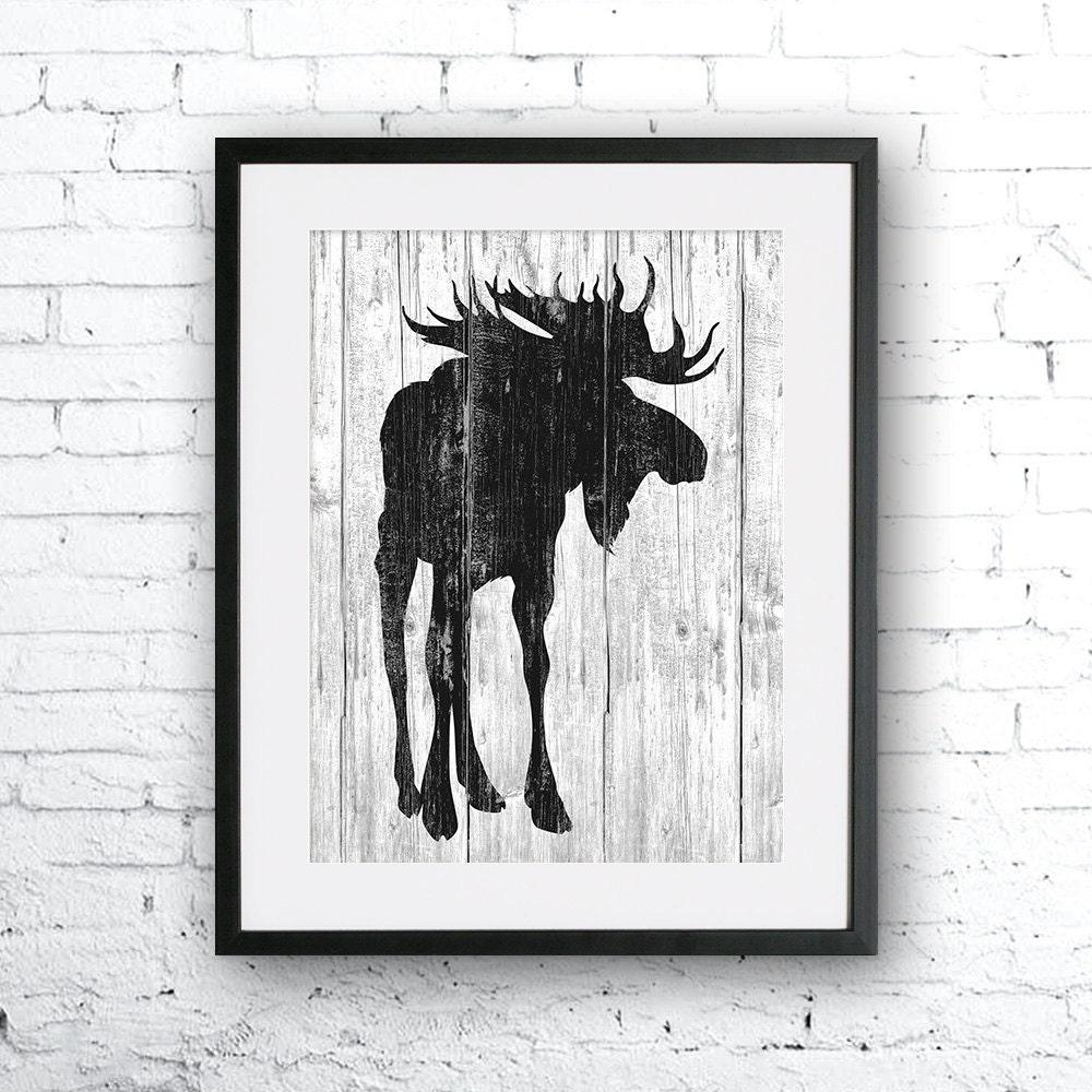 Moose 2 art illustration Moose paintingNauticalWall