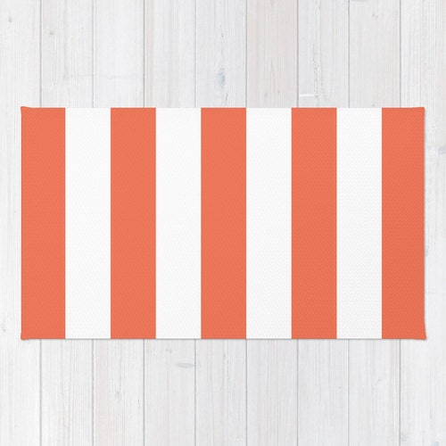 Stripes Area Rug Coral And White Nautical Stripes Printed