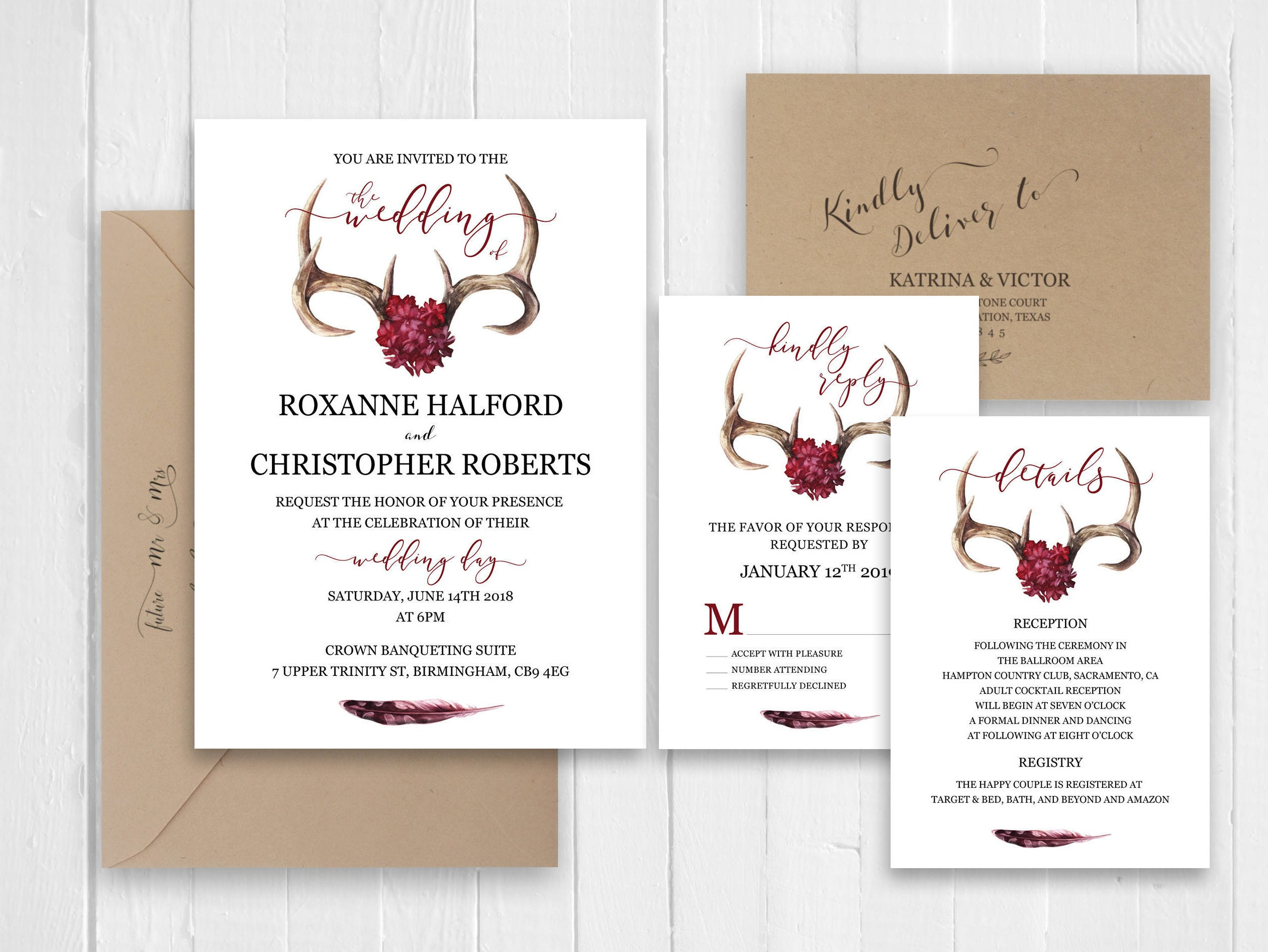 Burgundy Wedding Invitation Deer Antlers Invitations RSVP Details ...