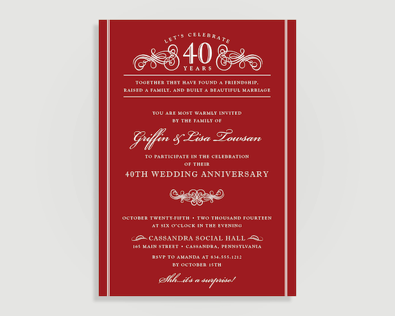 Th anniversary invitations ruby red wedding anniversary
