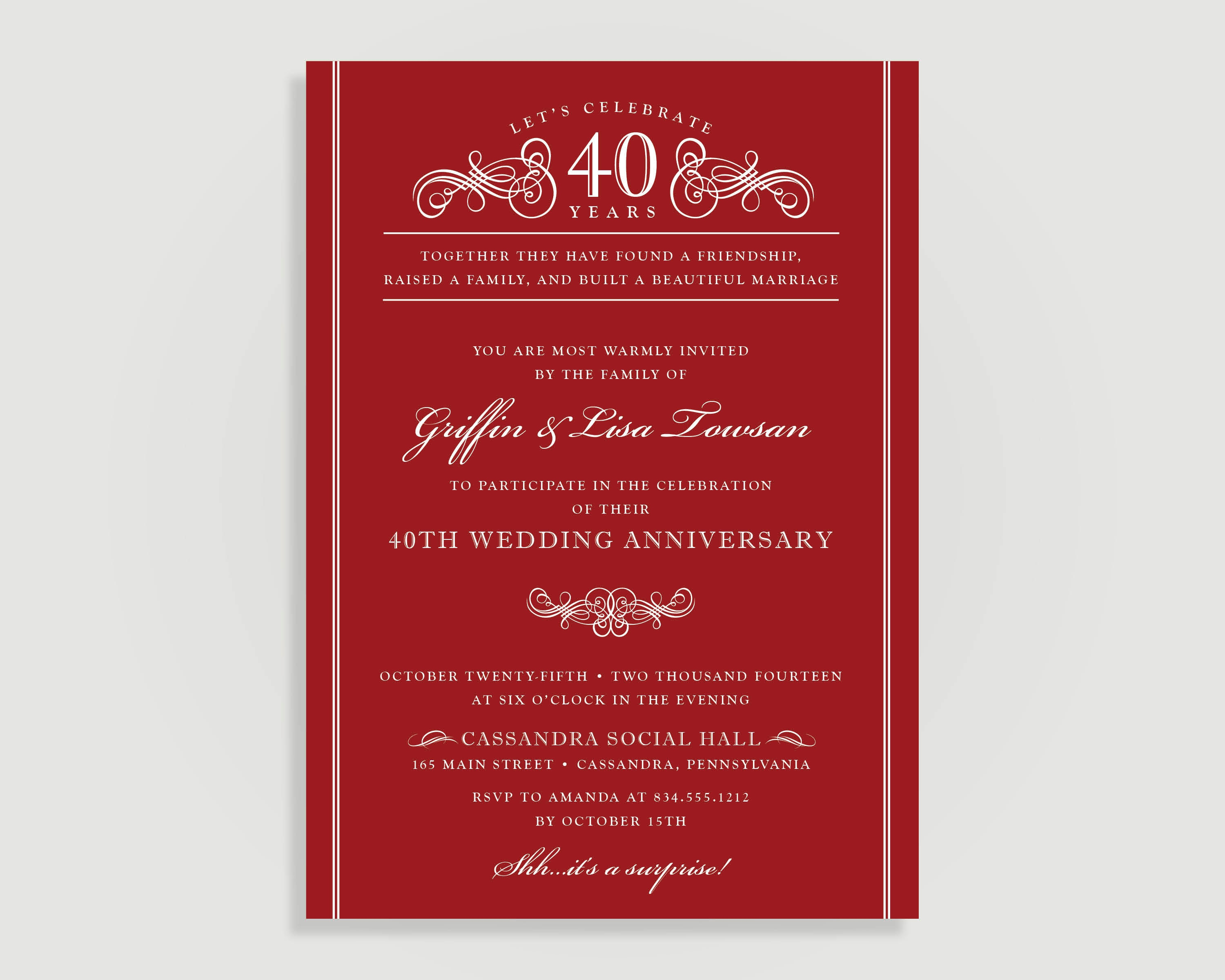 40th Anniversary Invitations Ruby Red Wedding Anniversary