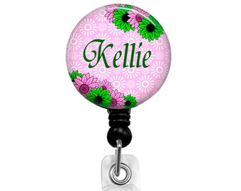 Floral Badge Reel, Pink and Green Retractable Badge Holder, Personalized Badge Reel, Name Clip, Carabiner, Flower Stethoscope Tag 219E