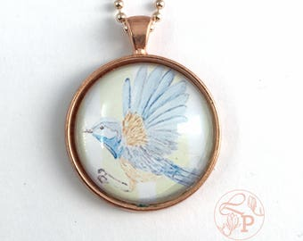Bluebird rose gold pendant necklace / Superb Fairy Wren Pendant / rose gold jewellery / bluebird jewellery / shabby chic jewelry /pale green
