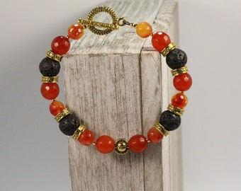 Orange - Red Agate & Lava Rock Bracelet
