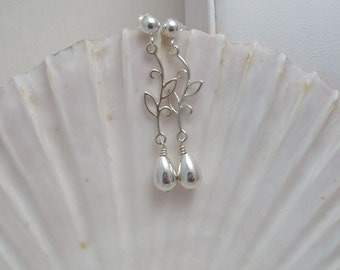 Sterling Silver Branch and Leaf Earrings