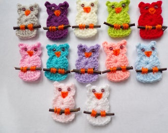 Crochet owl appliques x 3,embellishment,scrapbooking,sewing,card making,scrapbook,choice of colours