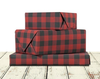 Buffalo Check Plaid Lumberjack Gift Wrap | Red And Black Matte (No Shine) Wrapping Paper In 9 foot or 18 foot Rolls Great For Any Occasion.