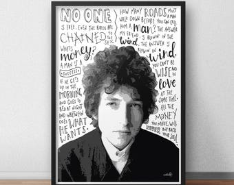 Bob Dylan quote print / poster hand drawn type / typography