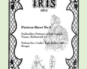 Iris Fashion Pattern 1855, No 6,  full size reprint