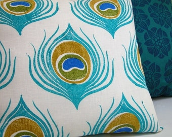 Turquoise Blue Peacock Feather hand block printed white linen decorative tropical home decor colorful pillow case
