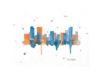 Denver Skyline Art - Denver Print - Denver Art - Denver Skyline Painting - Denver Wall Art - Skyline Wall Art =Denver Broncos