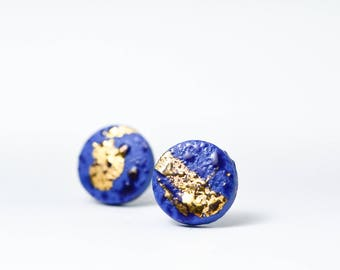 Blue porcelain jewelry, blue ceramic jewelry, vivid design jewelry, blue and gold earrings, casual earrings, mend earrings, earrings for men