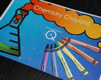 Large Chemistry Label for Crayon Box (8.5 x 5 inches) SALE 25% OFF