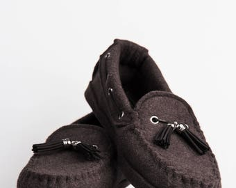 Wool Felt Warm Flat Moccasin Slippers