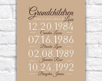 Gift for Grandparents from Grandchildren, Important Birthdates, Bdays Grandkids, Grandma and Grandpa - Nana, Mimi, Canvas Art | WF194
