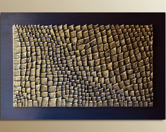 Textured Wall Art - Abstract Wall sculpture - 3D Wall Panel - Grey Green Ochre Wood Wall Decor - Organic Texture Wall Hanging - Wall Relief