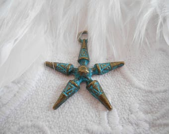 x 1 pendant star patinated bronze metal.