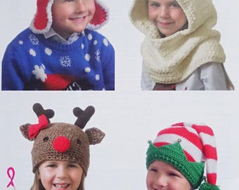Christmas Crochet Pattern C4870 Girls Boys Christmas Hats Elf Santa Reindeer Polar Bear Crochet Pattern Chunky (Bulky) King Cole