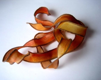 Hand Dyed Painted Habotai Silk Wrap Bracelet - Amber Fawn Gold Silk Fairy Ribbon DIY wrap bracelet Silk Bracelet  Ribbon Bracelet