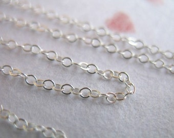 Sterling Silver Chain, Flat Cable Chain, 2 x 1.5 mm /  5-500 feet bulk pricing, wholesale, delicate, necklace chain, ss s88 hp