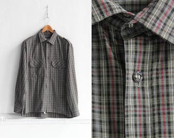 90s plaid shirt, Vintage Mens shirt, Plaid dress shirt, Checkered shirt, Button up shirt, Vintage Long sleeve shirt, Grunge shirt / Medium